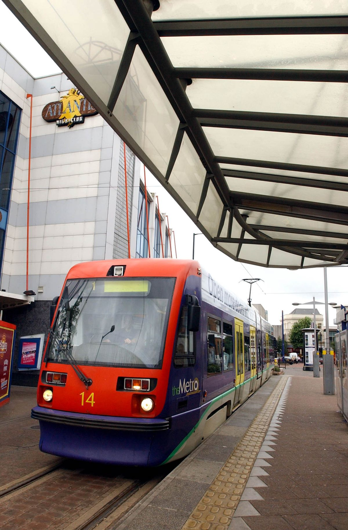 An old Midland Metro tram pictured here at the Wolverhampton St Georges platform in 2003