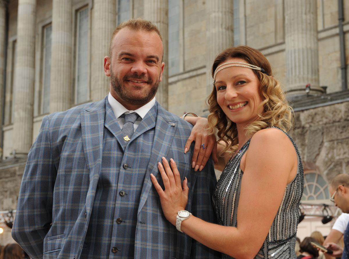 Peaky Blinders premiere, Birmingham Town Hall, fans Kurt Fennell and Heather Foulke, both of Nottingham