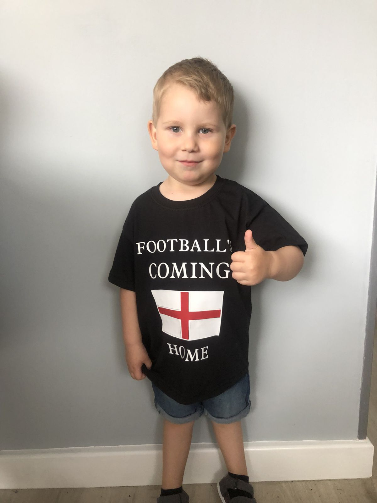 Lucas looking forward to the big game. Being half English and half Italian its coming home either way to our house, said mum Samantha from Wolverhampton.