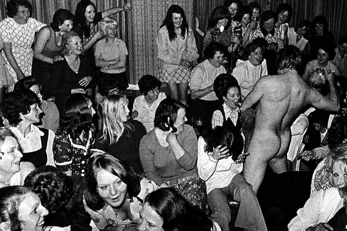 The award-winning image of the hen night at Saltwells Inn, featuring stripper Andy Wade