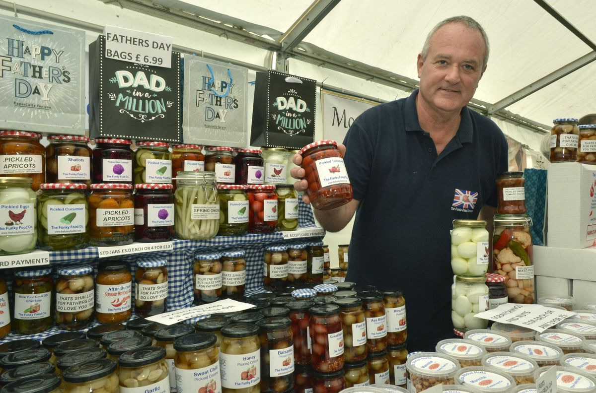 Tony Rabbitts from Cannock with his range of pickles at the Great British Food Festival at Weston Park