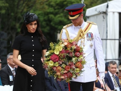 Harry and Meghan pay their respects to Anzac war heroes at memorial unveiling