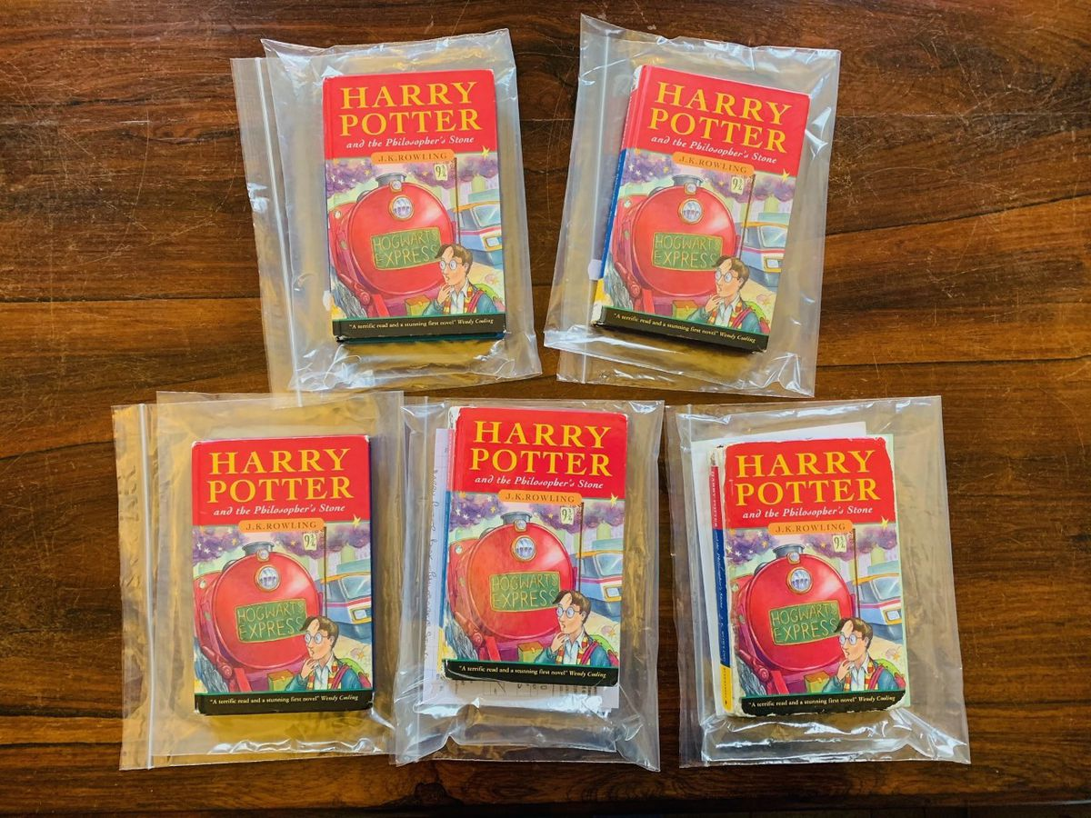 Five hardback first editions of Harry Potter and the Philospher's Stone from 1997. Photo: Hansons