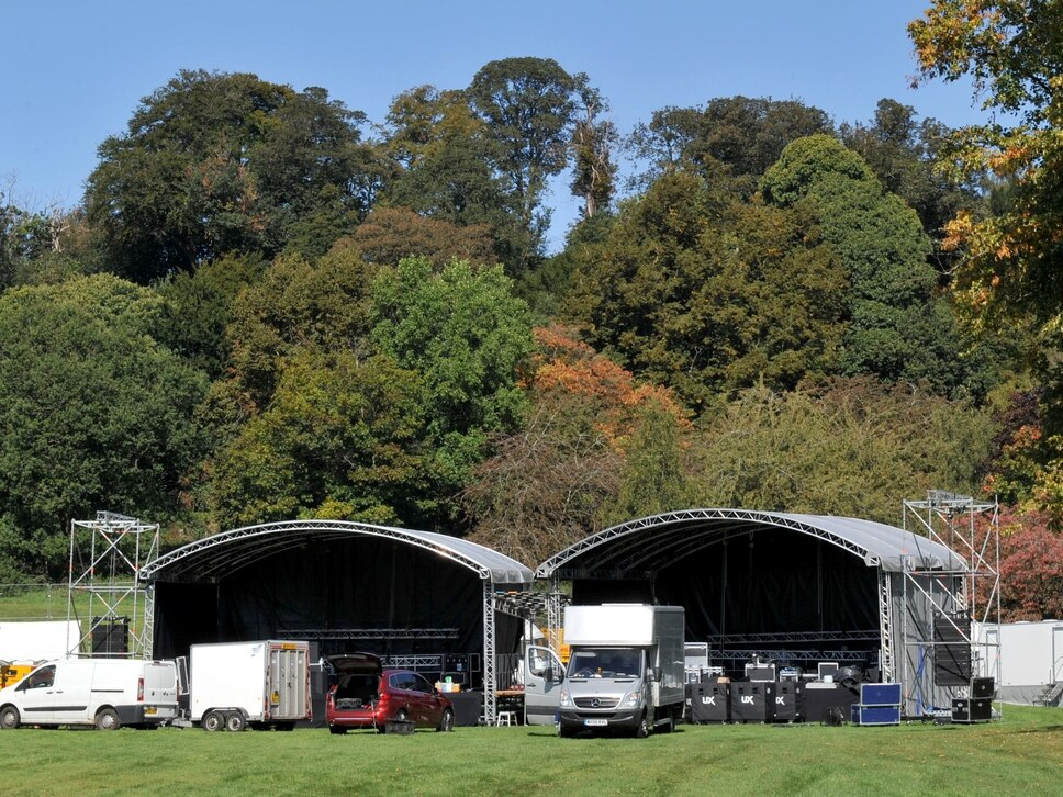 Stage set for Dudley's Party in the Park