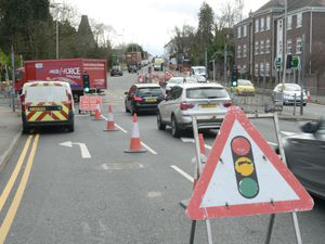 Temporary traffic lights in place as roadworks take place in Wordsley