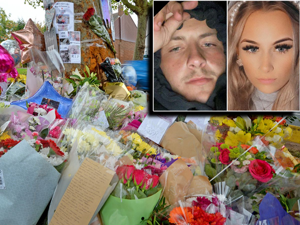 Tributes at the scene where three people on Bromley Lane where three people died. Joshua Parks and Lucy Tibbetts, inset, were two of the victims.