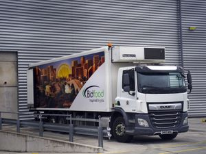 """A BidFood lorry, as the company placed an advert for lorry drivers outside their warehouse in Slough, Berkshire. BidFood, one of the UK's largest food wholesalers, which delivers to schools, told ITV News they are experiencing """"significant pressures across the supply chain, including shortages from manufacturers and challenges with HGV driver recruitment, which in turn is impacting our ability to deliver our usual levels of service out of a portion of our depots"""". Picture date: Friday October 8, 2021. PA Photo. Around one in six adults in Britain have been unable to buy essential food items in the last fortnight, figures suggest. See PA story CONSUMER Shortages. Photo credit should read: Steve Parsons/PA Wire"""
