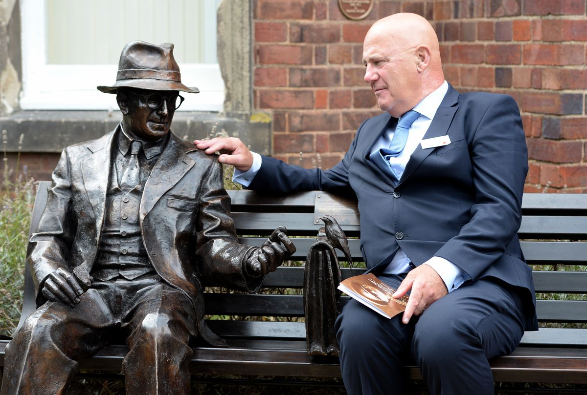 Michael Smith, who wrote the book about Frank Foley, with the statue