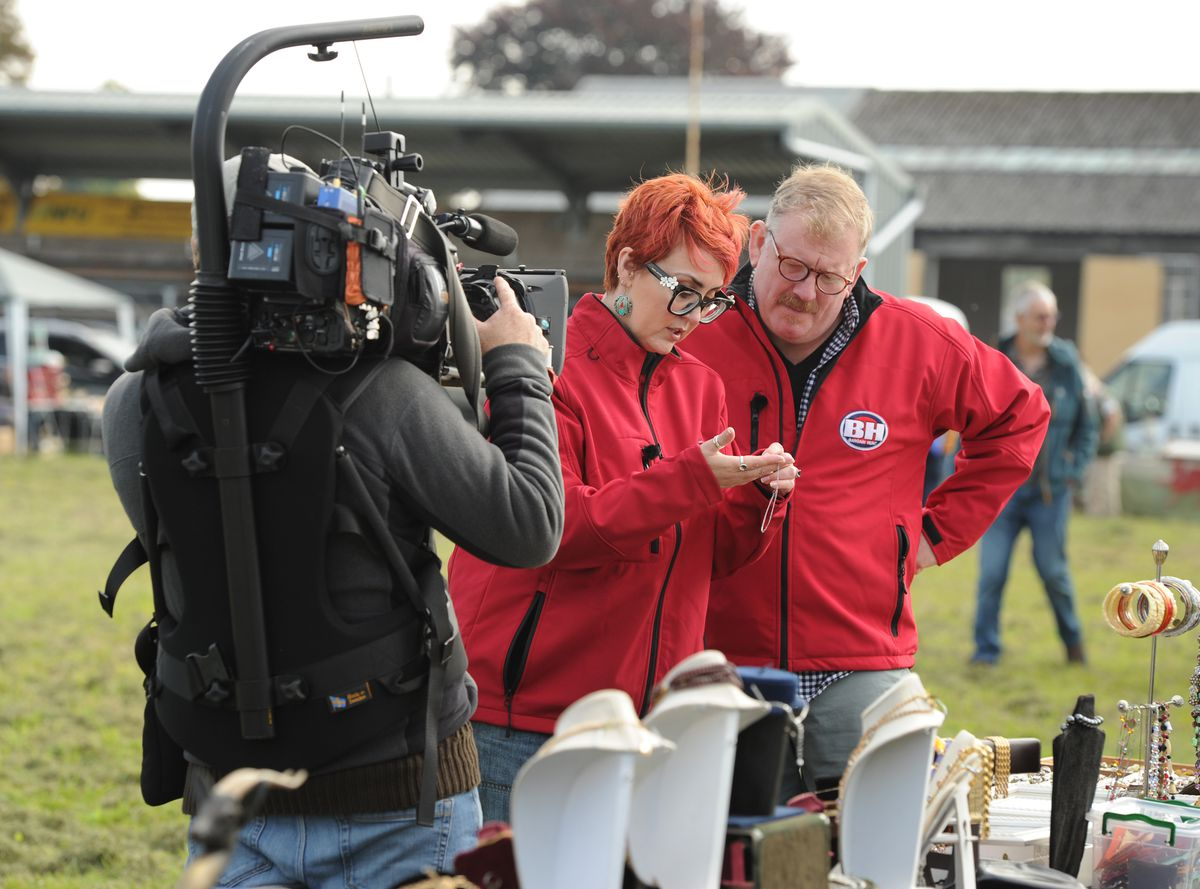 Bargain Hunt being filmed at Oswestry Showground, the red team Philip Latham and Nikki Latham, of Cheshire