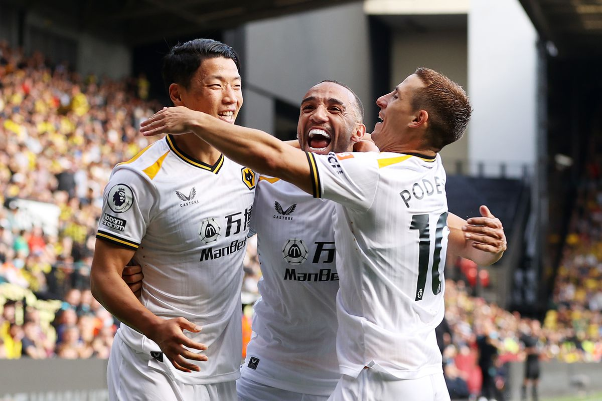 Wolves celebrate Hwang Hee-chan's goal. Picture: Getty.