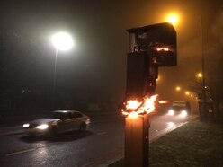Redundant speed camera destroyed by arsonists' tyre fire