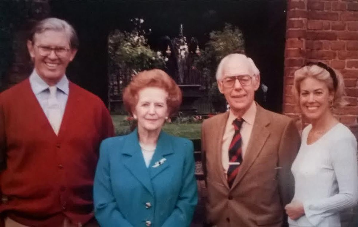 Sir Bill and Biddy Cash with Margaret and Denis Thatcher at Upton Cressett in 1994