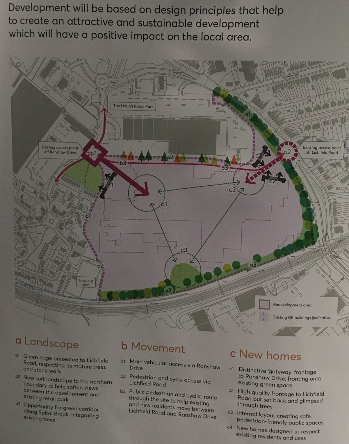 A map showing the proposed development area off Lichfield Road, in Stafford, on display at the consultation event