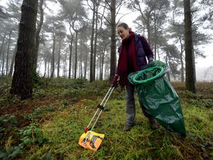 Volunteer Ally Cargill taking part in the litter pick carried out across areas of Cannock Chase
