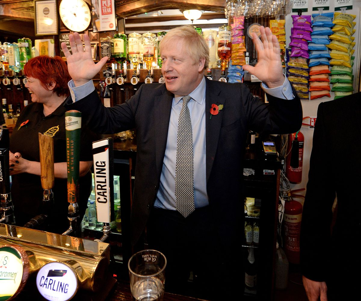 Mr Johnson in the Lych Gate Tavern in Wolverhampton where he pulled a pint