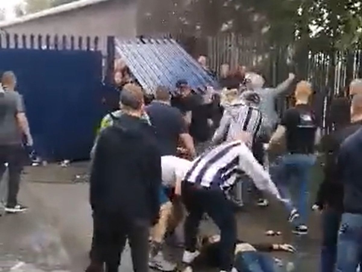 Violence outside The Hawthorns was caught on camera and shared on social media. Photo: Twitter