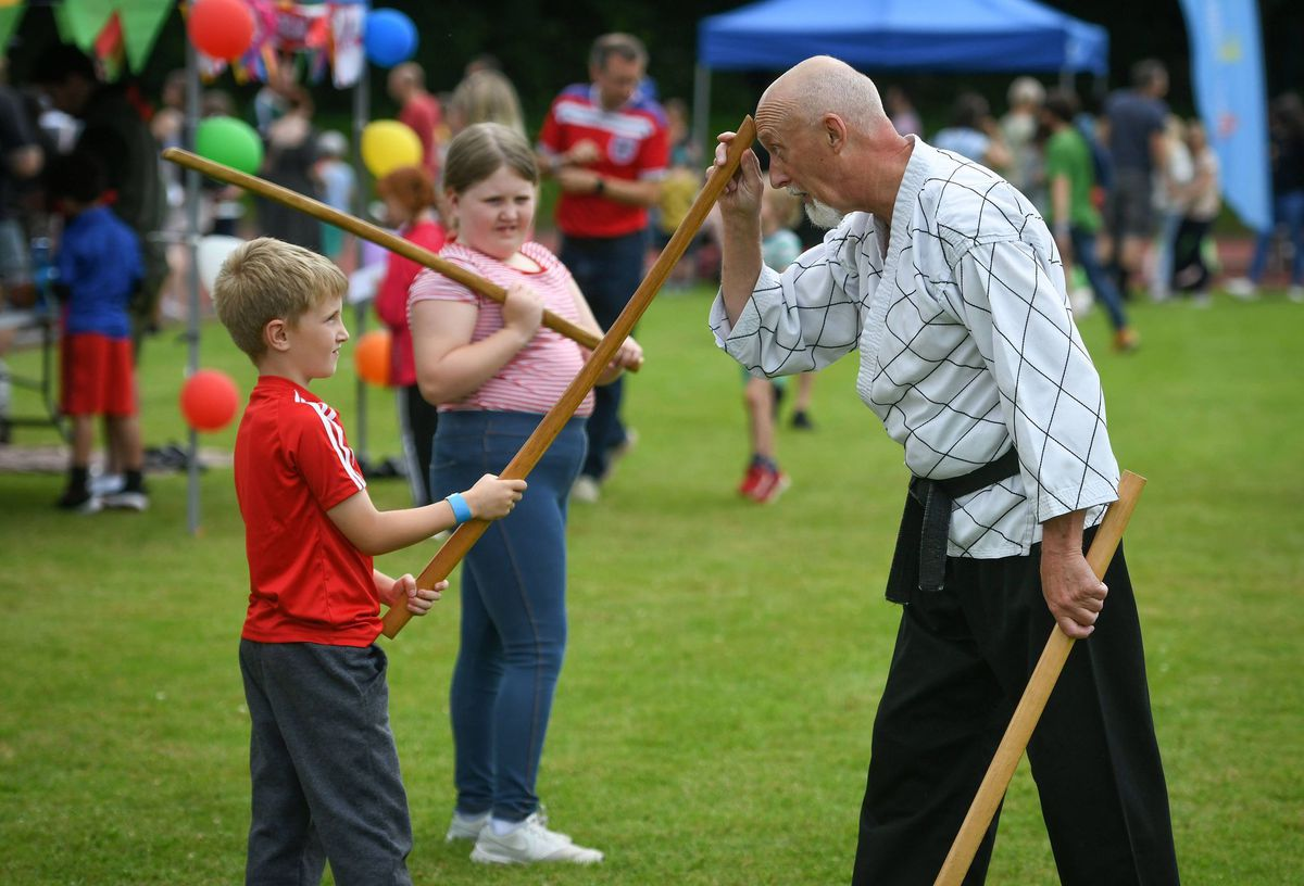 Trying out martial arts. Picture: Richard Harris