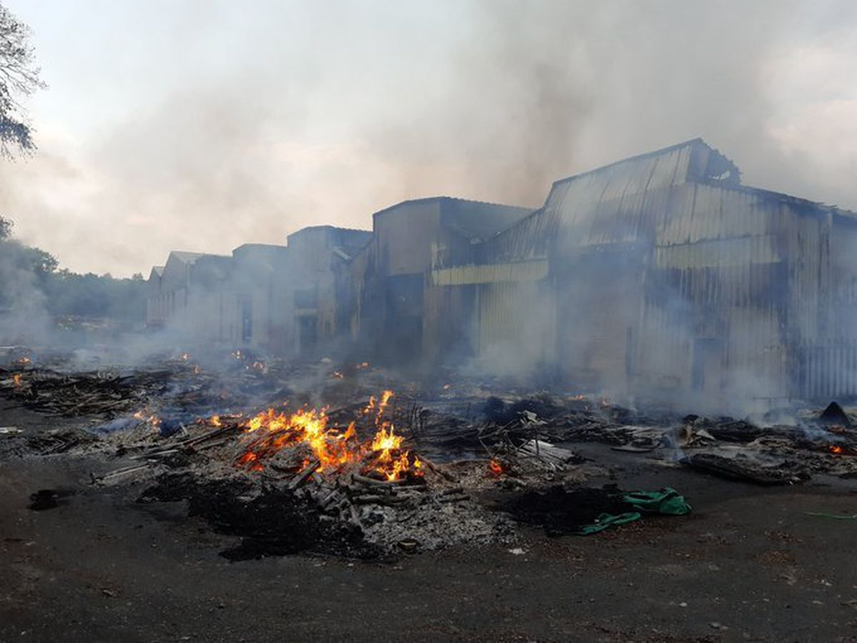 The fire started at Hartlebury Trading Estate at around 4.30pm on Sunday. Photo: HW Fire Area Commander Jon Pryce