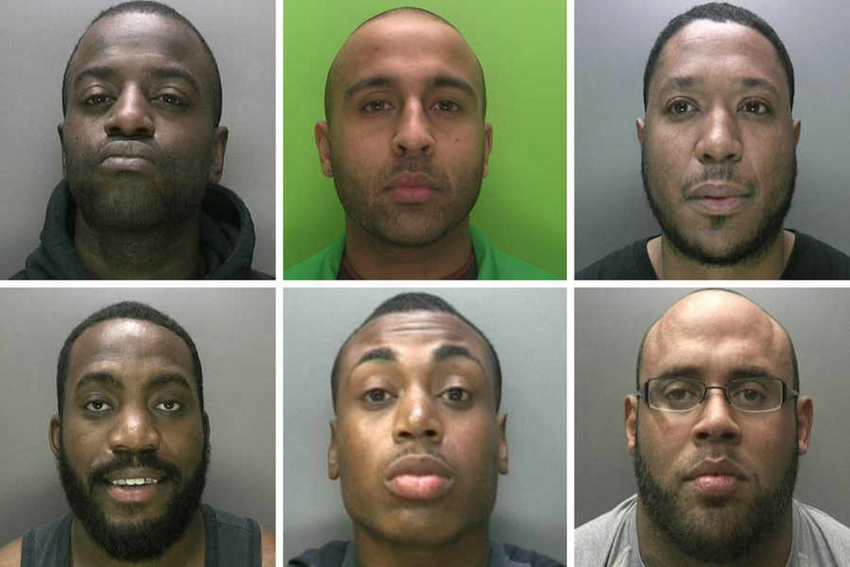 Drug dealers (L-R and top to bottom) Aaron Clemenson, Zarak Khan, Kieran Samuels, Clayton Stephenson, Levi Watson and Adam Whiteley