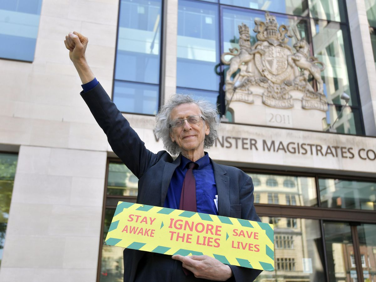Piers Corbyn, outside Westminster Magistrates' Court, London (Victoria Jones/PA)