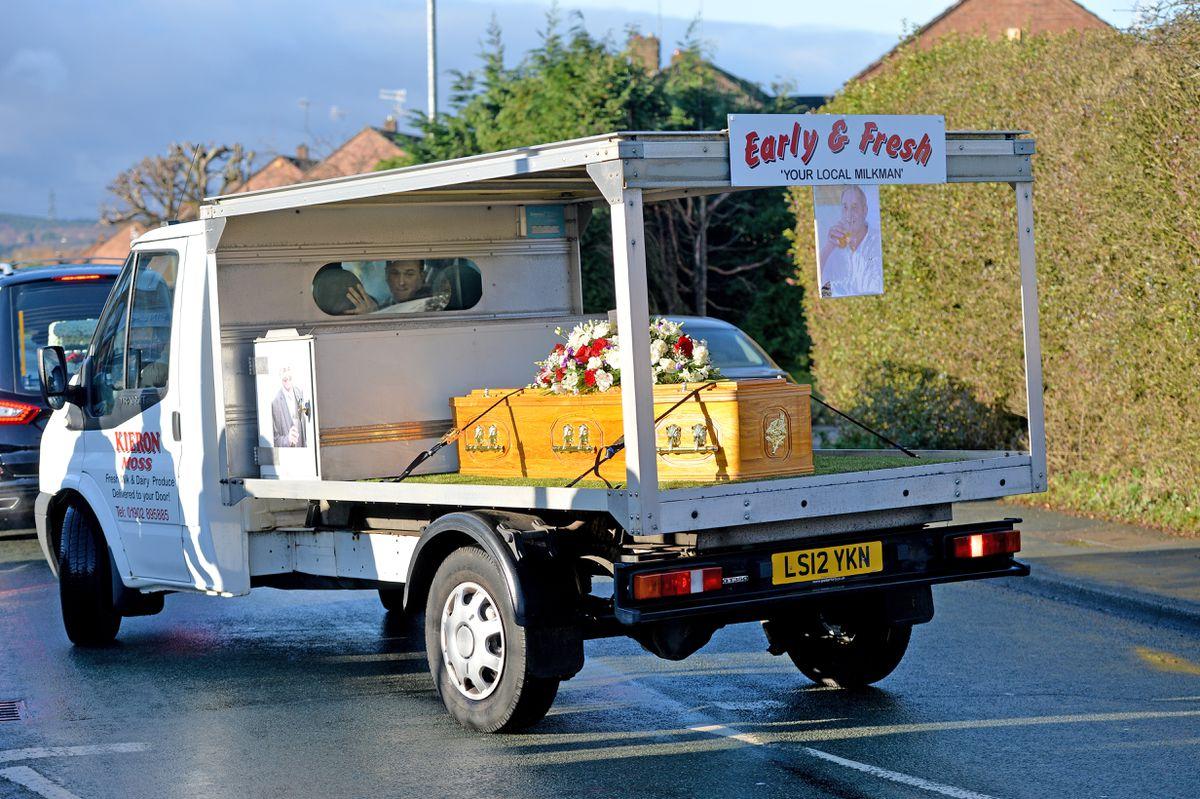 Kieron was taken to the crematorium on his old milk float