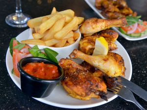 Grilled Baby Chicken and Chips