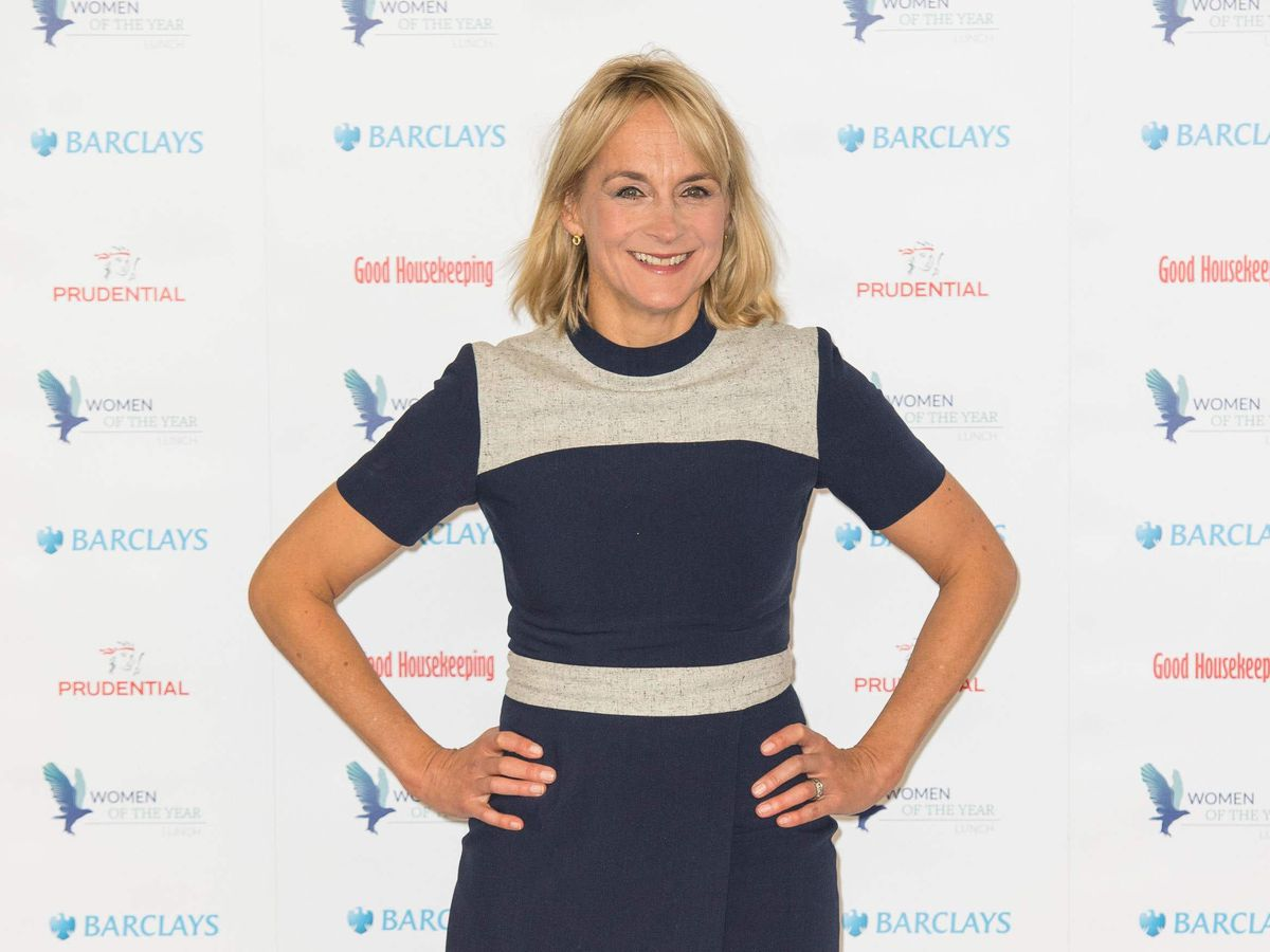 Louise Minchin stands with her hands on her hips
