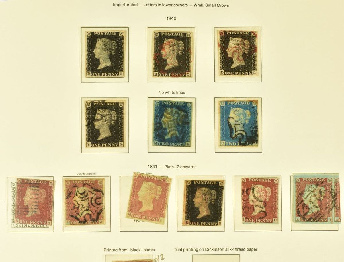 A GB stamps collection valued at around £1,200 includes five Penny Blacks.