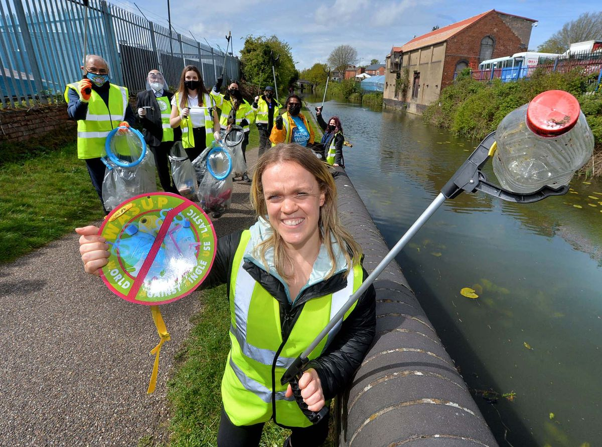 Ellie Simmonds in Pleck, helping out a litter picking group and highlighting the need for volunteers for the Commonwealth Games