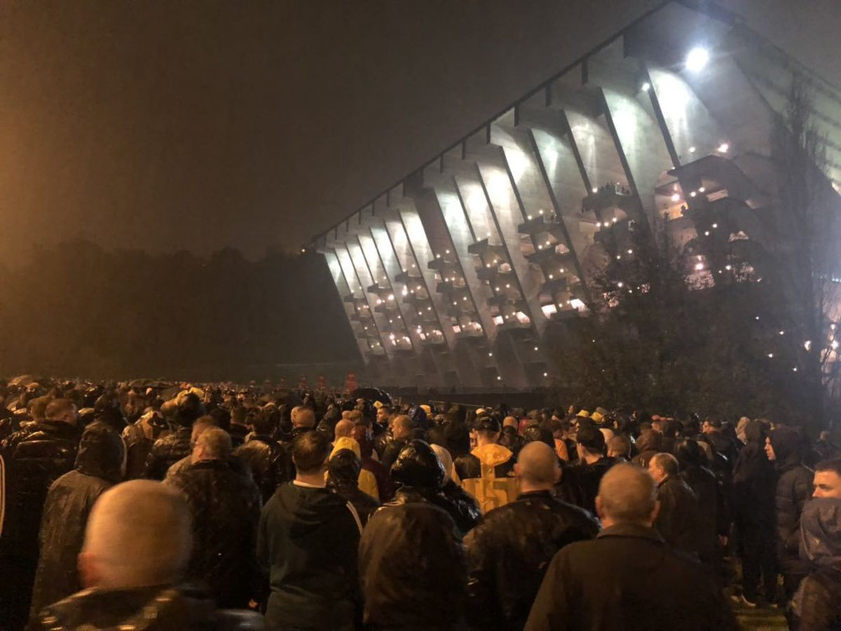 Wolves fans wait outside the Braga Municipal Stadium in Portugal. Photo: Phil Bradley