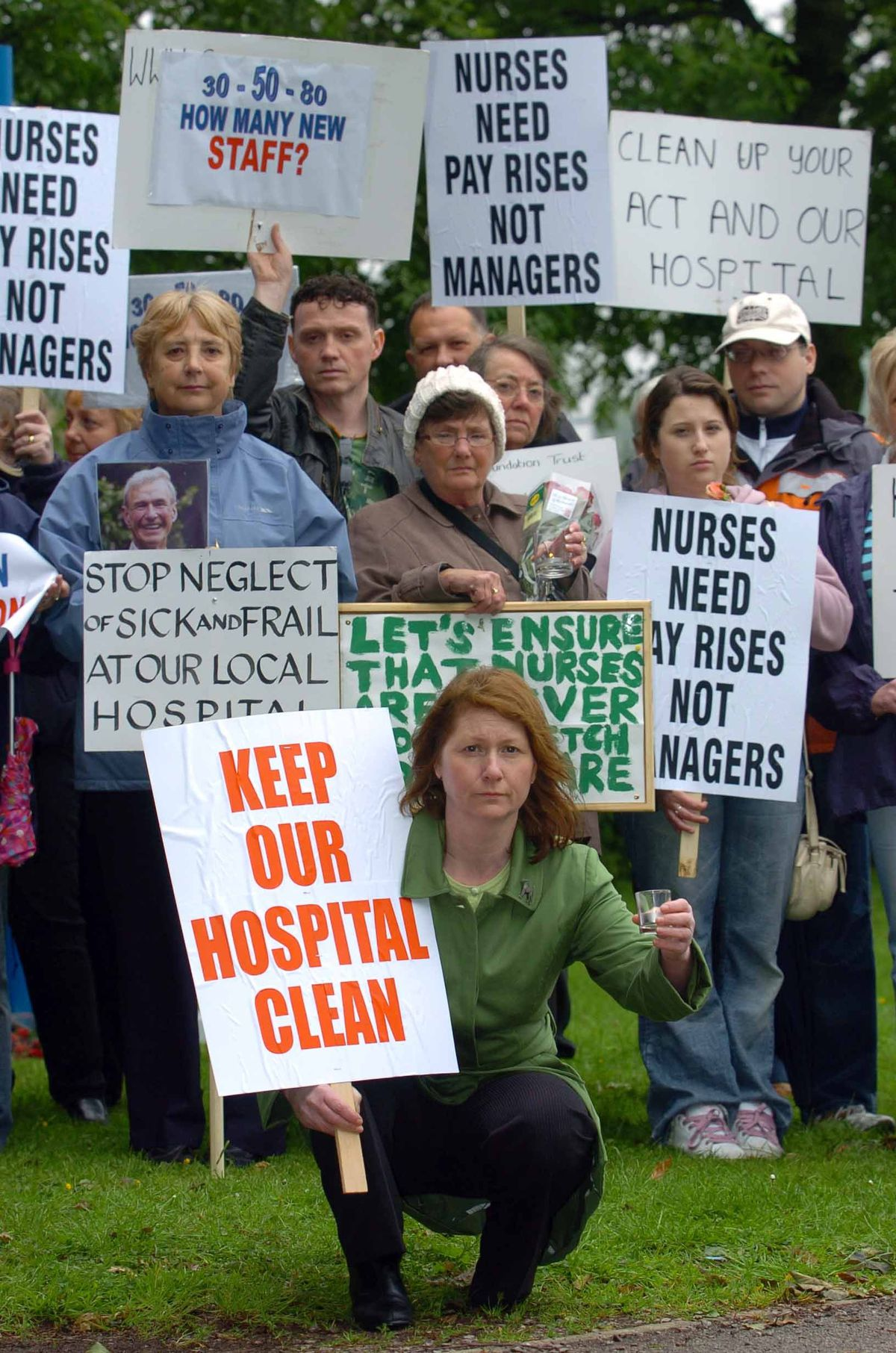 Pictured front, Cure the NHS campaigner Julie Bailey during one of the group's protests