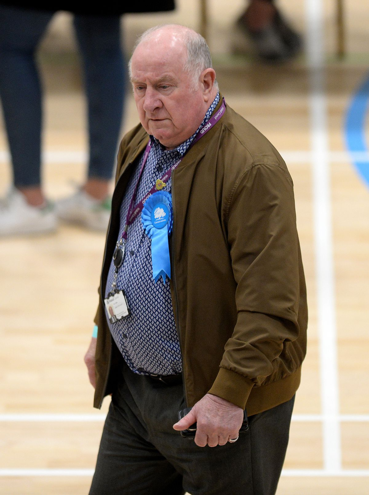 Mike Bird, the Conservative leader of Walsall Council, patrols the count