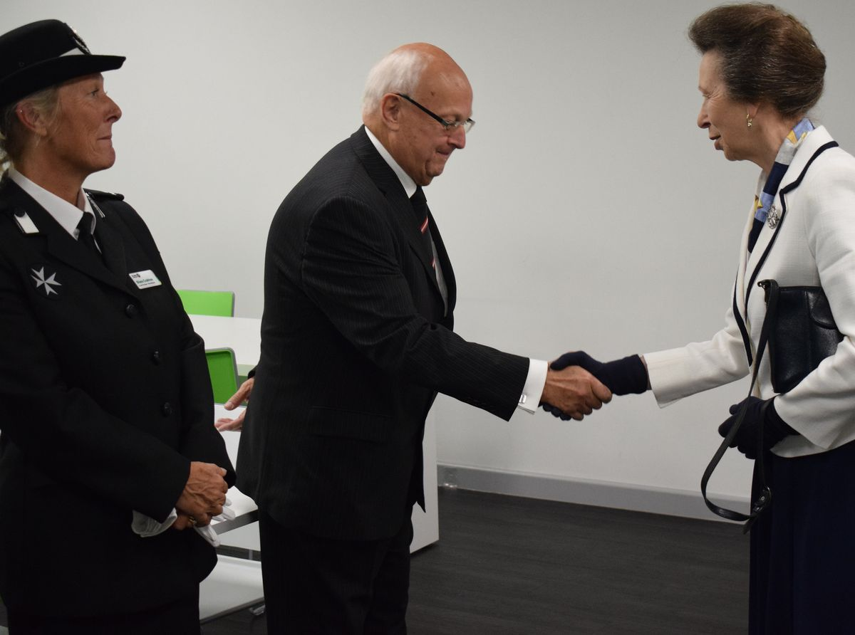 Chairman of the Order of St John West Midlands County Priory Group Keith Hunter, and County President St John Ambulance West Midlands Diana Crabtree meet HRH The Princess Royal.