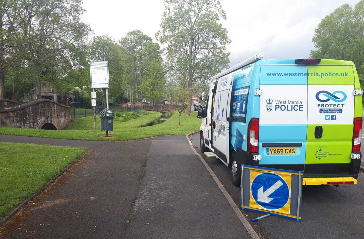Police at Broadwaters Park, in Kidderminster, on Tuesday morning. Photo: Wyre Forest Police