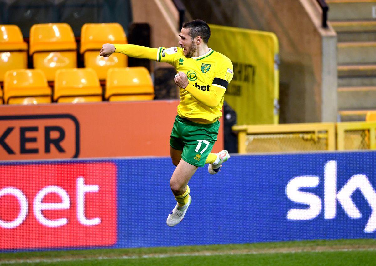 Norwich City's Emi Buendia celebrates