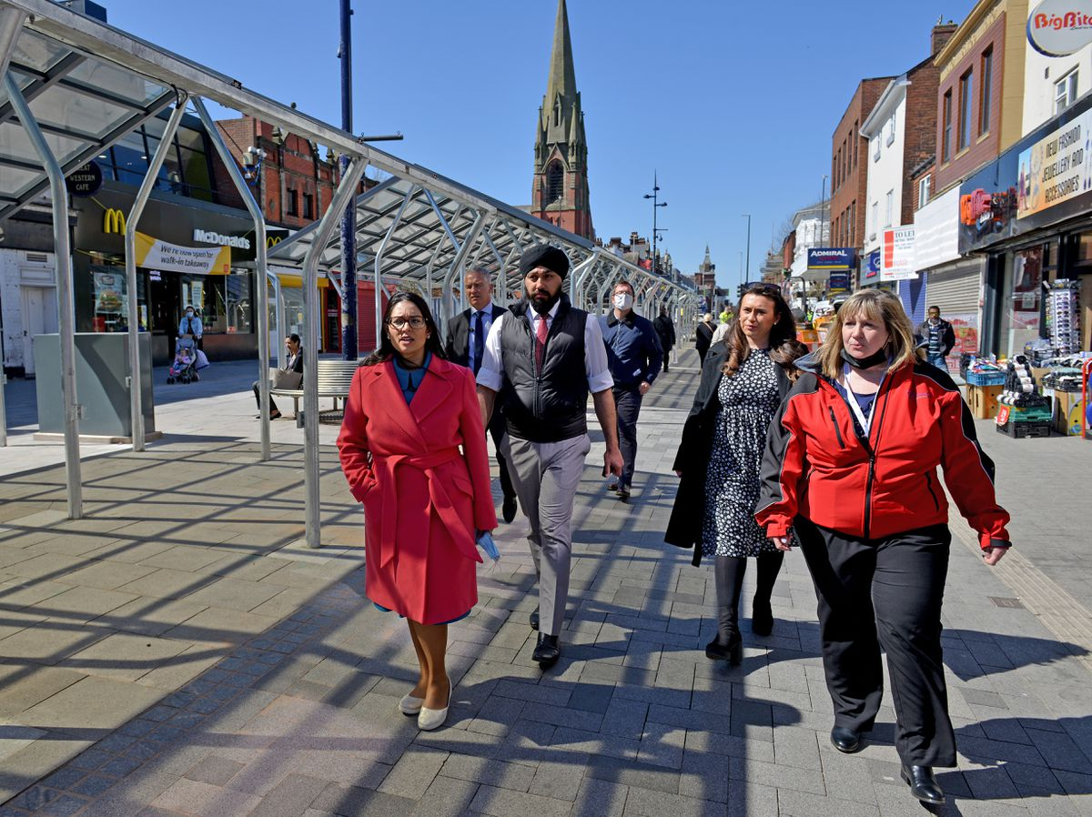 Home Secretary Priti Patel took a walk around the streets of West Bromwich with Jay Singh-Sohal and town MP Nicola Richards