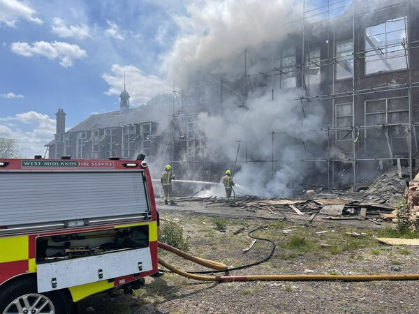Firefighters tackle the blaze at the Claughton Centre in Dudley. Photo: West Midlands Fire Service