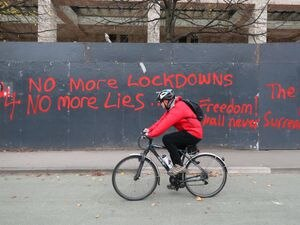 Anti-lockdown graffiti