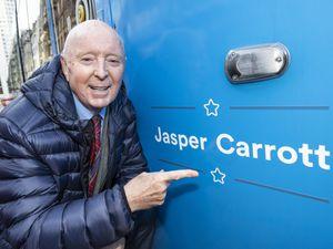 Birmingham comedian Jasper Carrott unveils the Metro tram that now carries his name