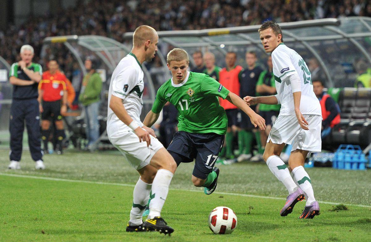 Northern Ireland's John Gorman in action during the UEFA European Championship Qualifying match at the Ljudski Vrt Stadium, Maribor..