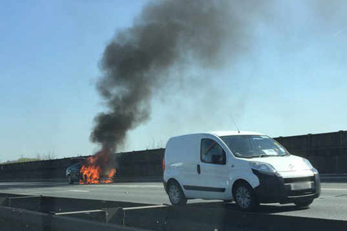 M6 car fire causes major delays at rush hour