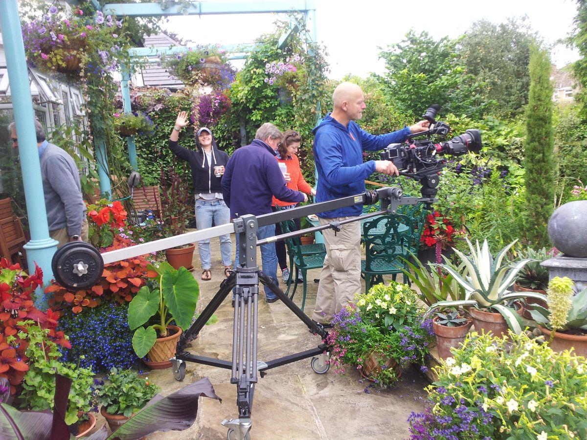 BBC Gardeners' World filming in the Compton garden