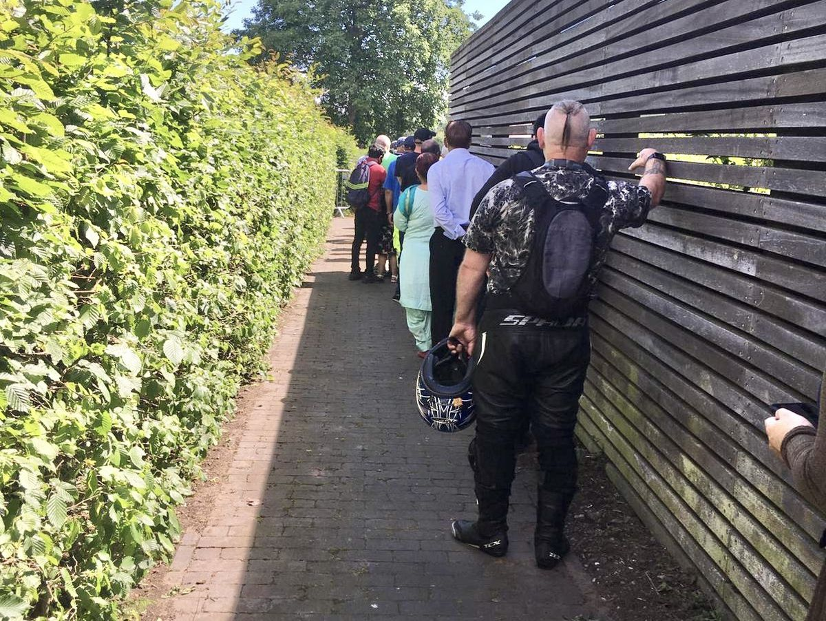 Queues for Covid vaccinations at Phoenix Park in Wolverhampton