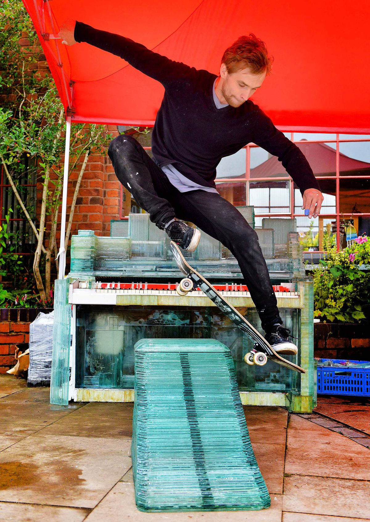 As well as being an artist, Kārlis is a talented skateboarder