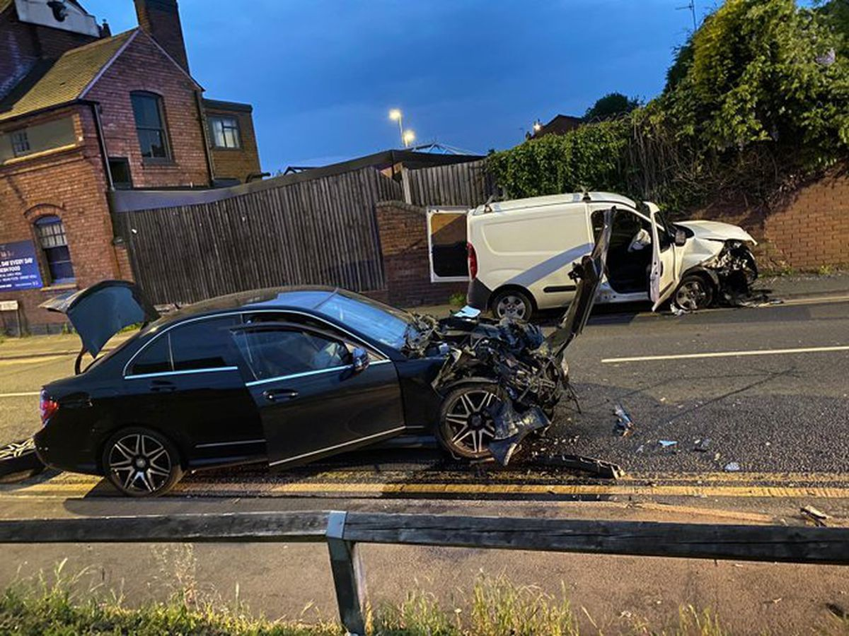 The scene after the crash. Photo: Dudley Fire Station