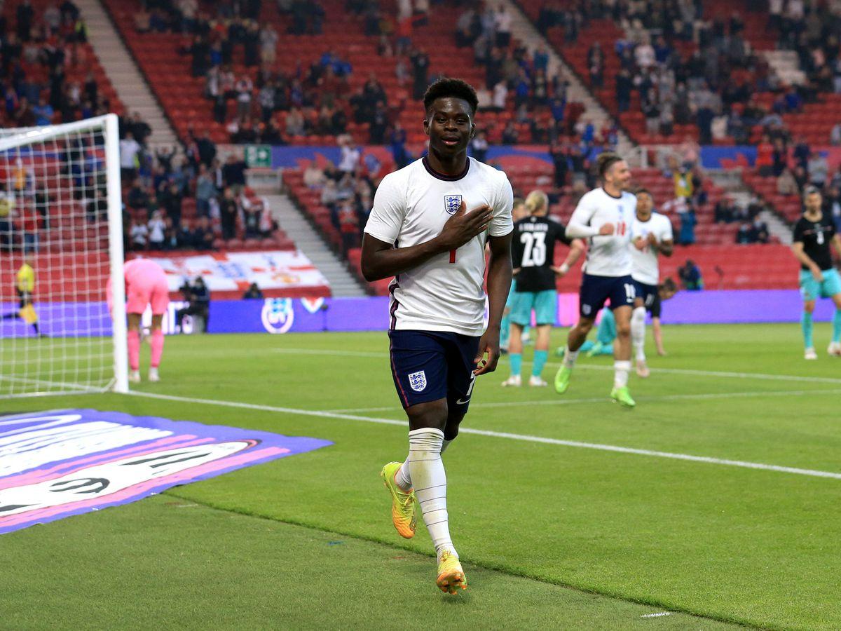 Bukayo Saka scored his first England goal in the win over Austria last week