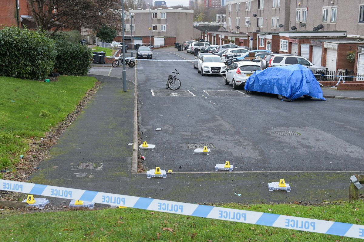 Pictured: West Midlands Police cordoned off Ventnor Avenue in the Lozells area of Birmingham