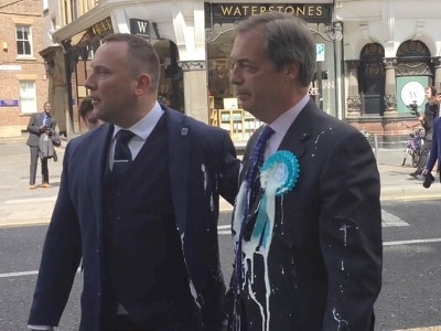 Man charged with common assault after Nigel Farage hit by milkshake