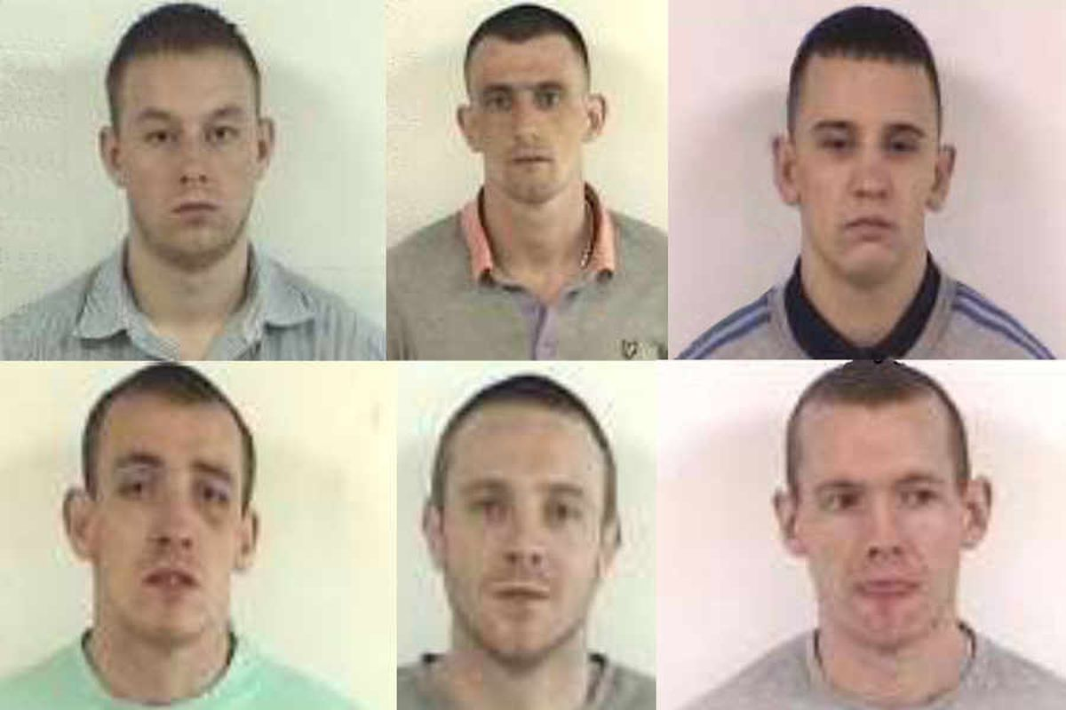 Adam Bates, Daniel Donovan, Daniel Rust, Mark Russell, Matthew Williams and Ryan Harris, who were dealt with for their parts in the trouble
