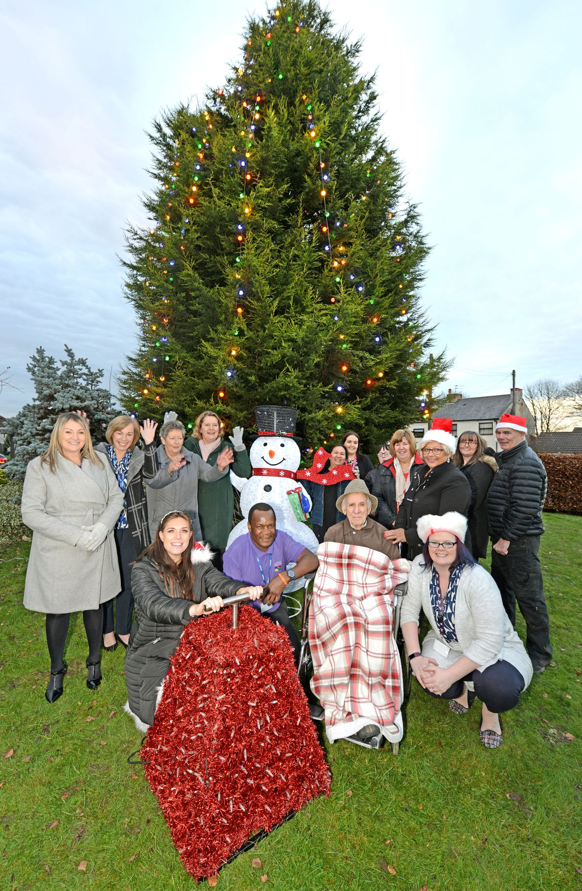Pippa Langhorne is joined by residents and staff at Lakeview Care Home, Stafford Road, Great Wyrley, as she switches on the Christmas lights